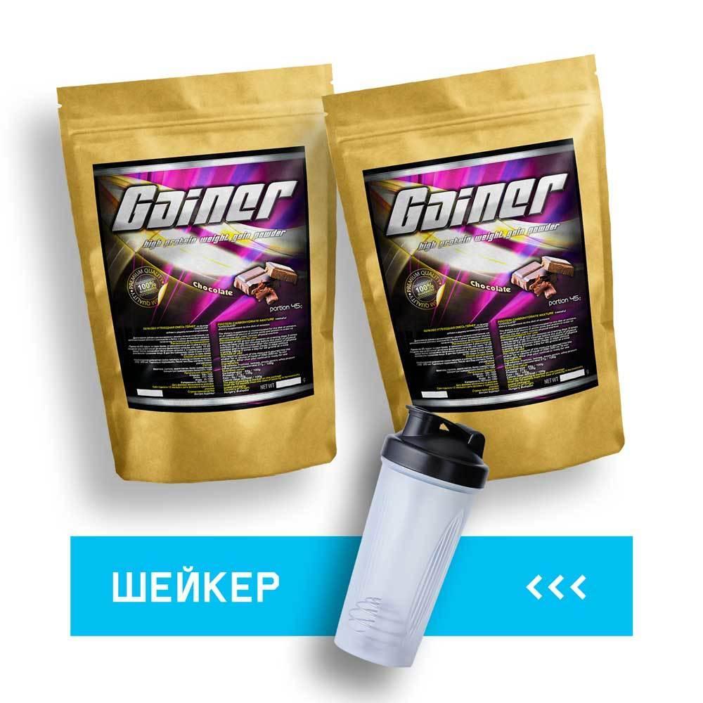 Быстрая масса: 4.0 кг Гейнер + Шейкер сывороточный протеин для набора массы   60 дней