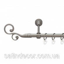 Карниз для штор металевий ФЛОРЕС однорядний 16мм 2.0 м Сатин нікель
