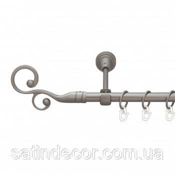 Карниз для штор металлический ФЛОРЕС однорядный 16мм 2.4м Сатин никель