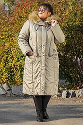 Пальто зимове довге Венера оливка