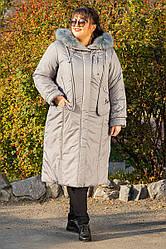 Пальто зимнее длинное Венера светло серый