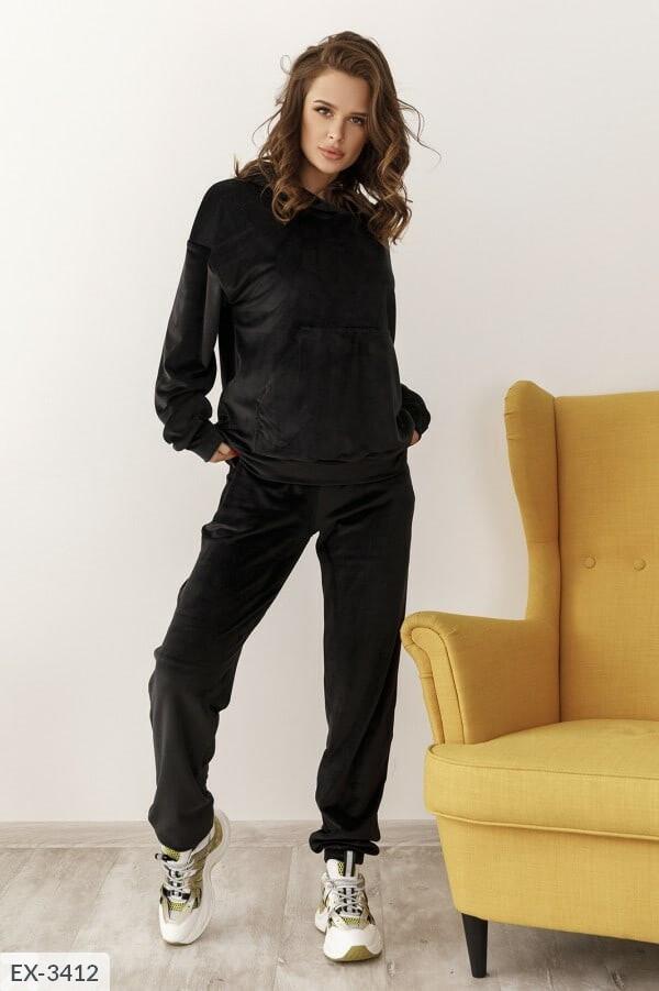 Черный велюровый женский спортивный костюм