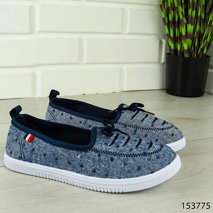 """Балетки женские, синие """"Jastude"""" текстильные, туфли женские, мокасины женские, женская обувь, фото 2"""