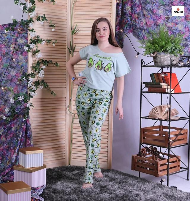 Женская летняя пижама футболка со штанами домашняя фисташковый р42-54