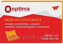 Стикеры Optima, 75х50, оранжевые неон, 100 л.