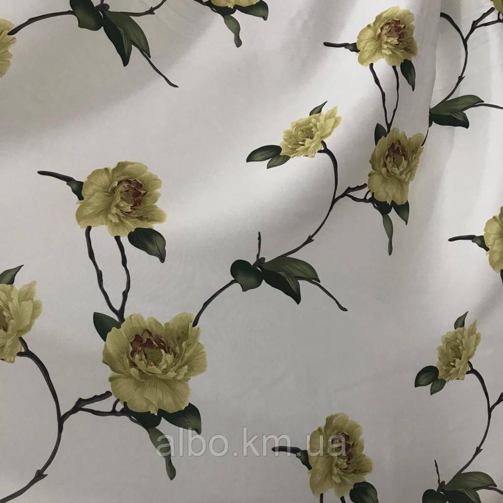 Щільна атласна шторна тканина з квітами, висота 2.8 м на метраж