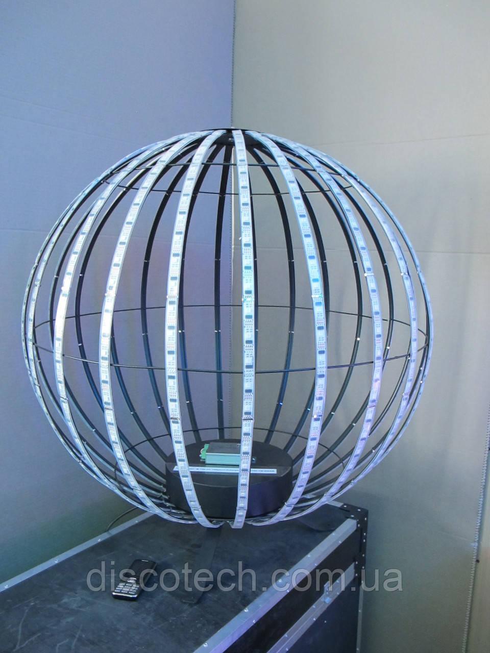 Сфера диаметр- 720мм, 24луча, 32пикс/луч, шаг-32мм (768пикс, 192W, БП-300W/5V-1шт)