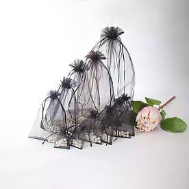 Мешочек из органзы подарочный 14*19 см черный цвет