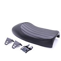 Мото сиденье на байк, кастом, седло Bobber Seat  + крепления, черная , полоска
