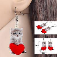 """Жіночі сережки «Чорні коти"""" Дитяча біжутерія Акрилові сережки для дівчинки, фото 1"""
