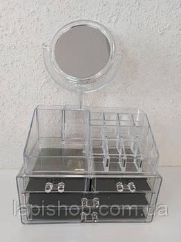 Настольный ящик органайзер для хранения косметики с зеркалом