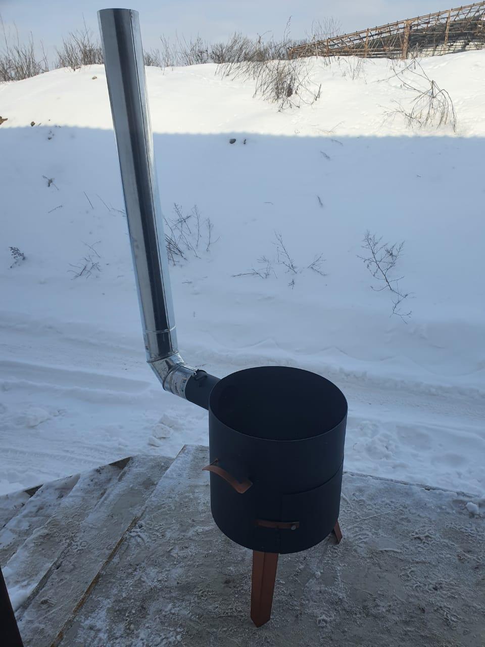 Очаг (печька,котел топка) с дымоходом и трубой. диаметр 46см. Идеально под казан 22л.