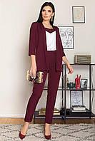 Брючный костюм-тройка женский (Бордовый / Бежевый / Хаки / Черный / Умбра)
