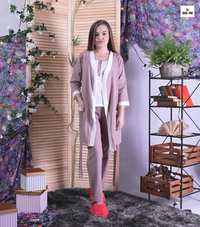 Піжама трійка бавовна для будинку халат з піжамою пудровий р42-54