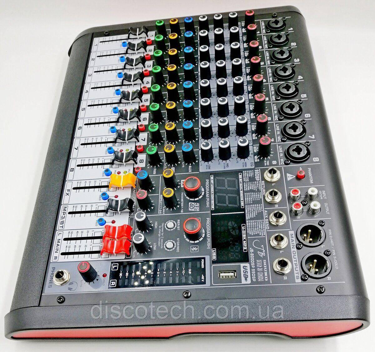 JB-800DSP JB sound Активний мікшерний пульт 8 каналів ,процесор ефектів 32-біт, 99DSP