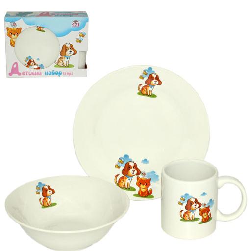 Набор детской посуды 3 предмета (тарелка+супник+чашка)