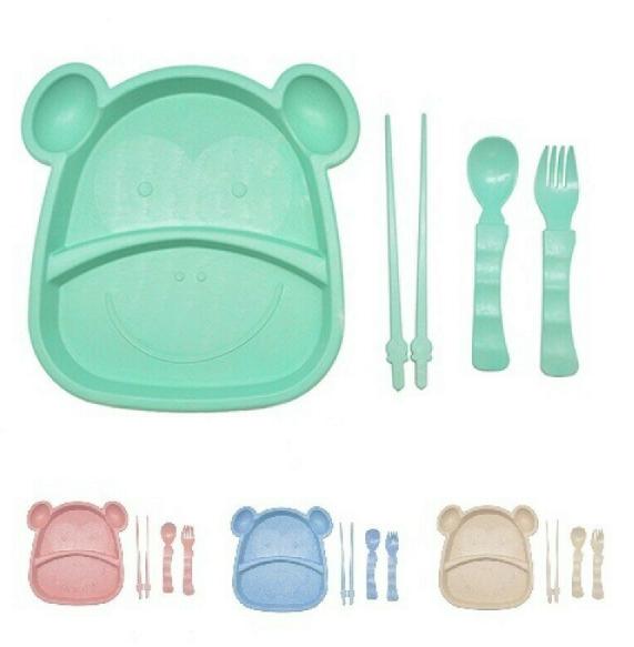 Набор посуды детской из пшеничной шелухи Бегемот 5 предметов