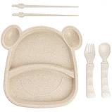 Набор посуды детской из пшеничной шелухи Бегемот 5 предметов, фото 2