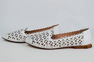 Балетки перфорированные Evromoda 230125 37 Белые кожа, фото 3
