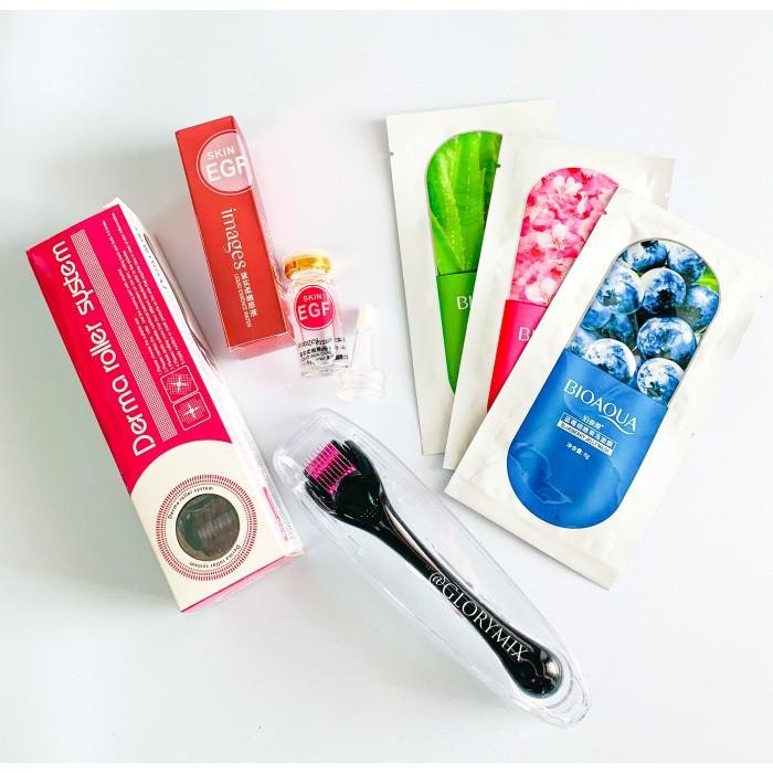 Акционный набор: Мезороллер DRS 540 игл в пластиковом футляре + сыворотка с витамином С Soon Pure Vitamin VC Solution + Гелевая маска для лица (в
