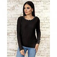Джемпер черного цвета с открытой спинкой 40% шерсть 10% мохер (универсальный (S/L))