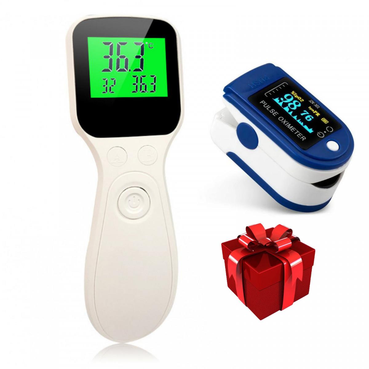 Безконтактний інфрачервоний термометр T100 + Пульсоксиметр Contec CMS50D