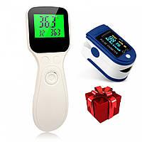 Безконтактний інфрачервоний термометр T100 + Пульсоксиметр Contec CMS50D, фото 1