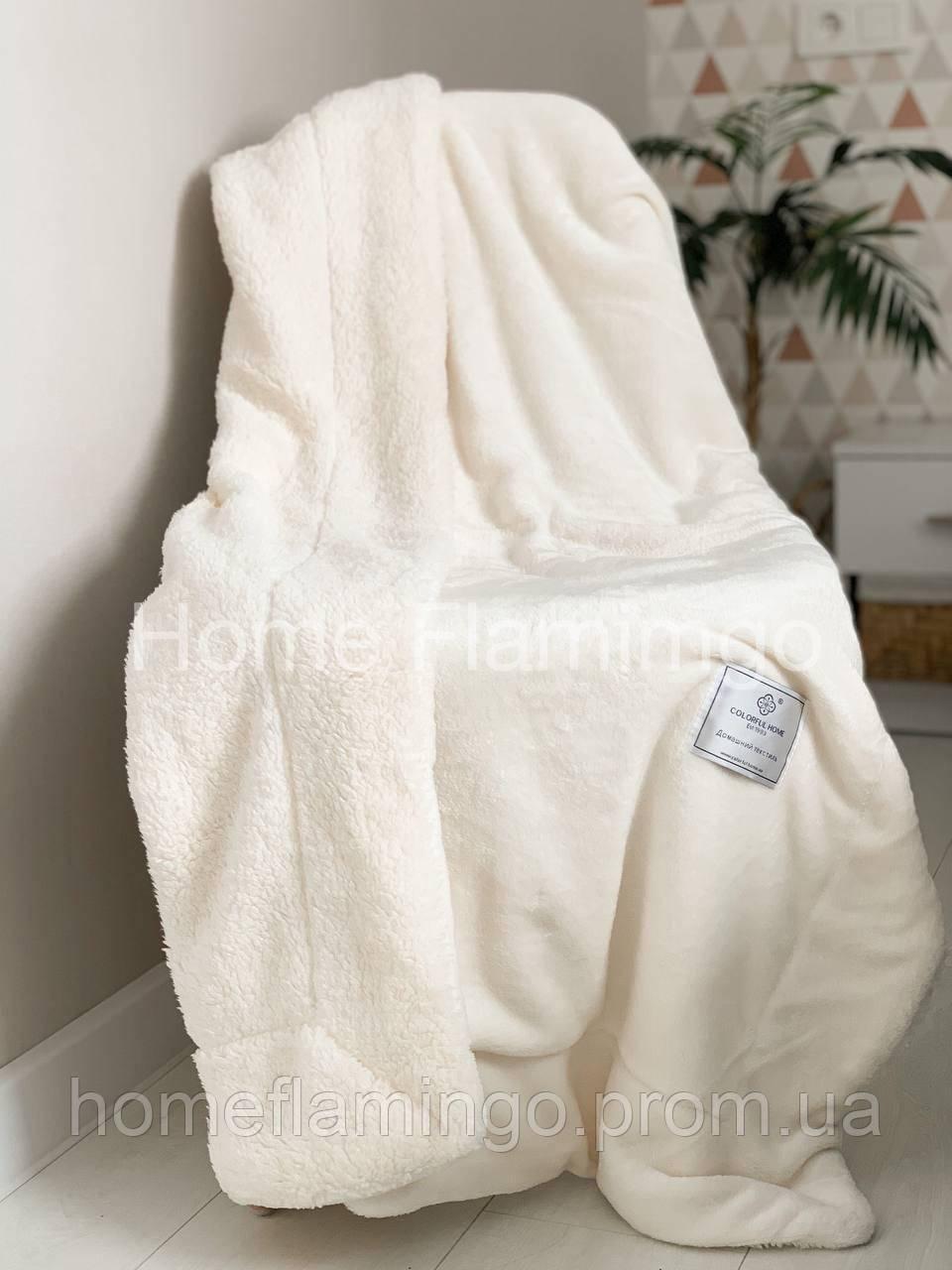 Плед детский двухсторонний теплый с овчины и гладкой микрофибры, цвет молочный Milk CFH 100х130 см