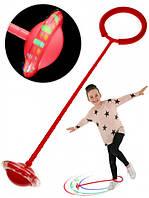Нейроскакалка 3 в 1,хулахуп на одну ногу, скакалка с светящимся колесом, Красная