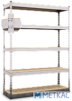Стелаж МКП ОМ-18 216х120х50 Меткас, 300 кг на полицю, 5 полиць, МДФ, оцинкований, металевий, на склад, фото 2