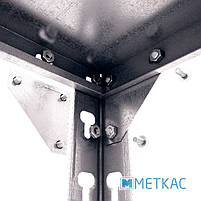Стеллаж Комби ОСУ-15 2160х1000х600 Меткас, 180 кг/полка, 5 полок, металлические полки, оцинкованный, в подвал, фото 4