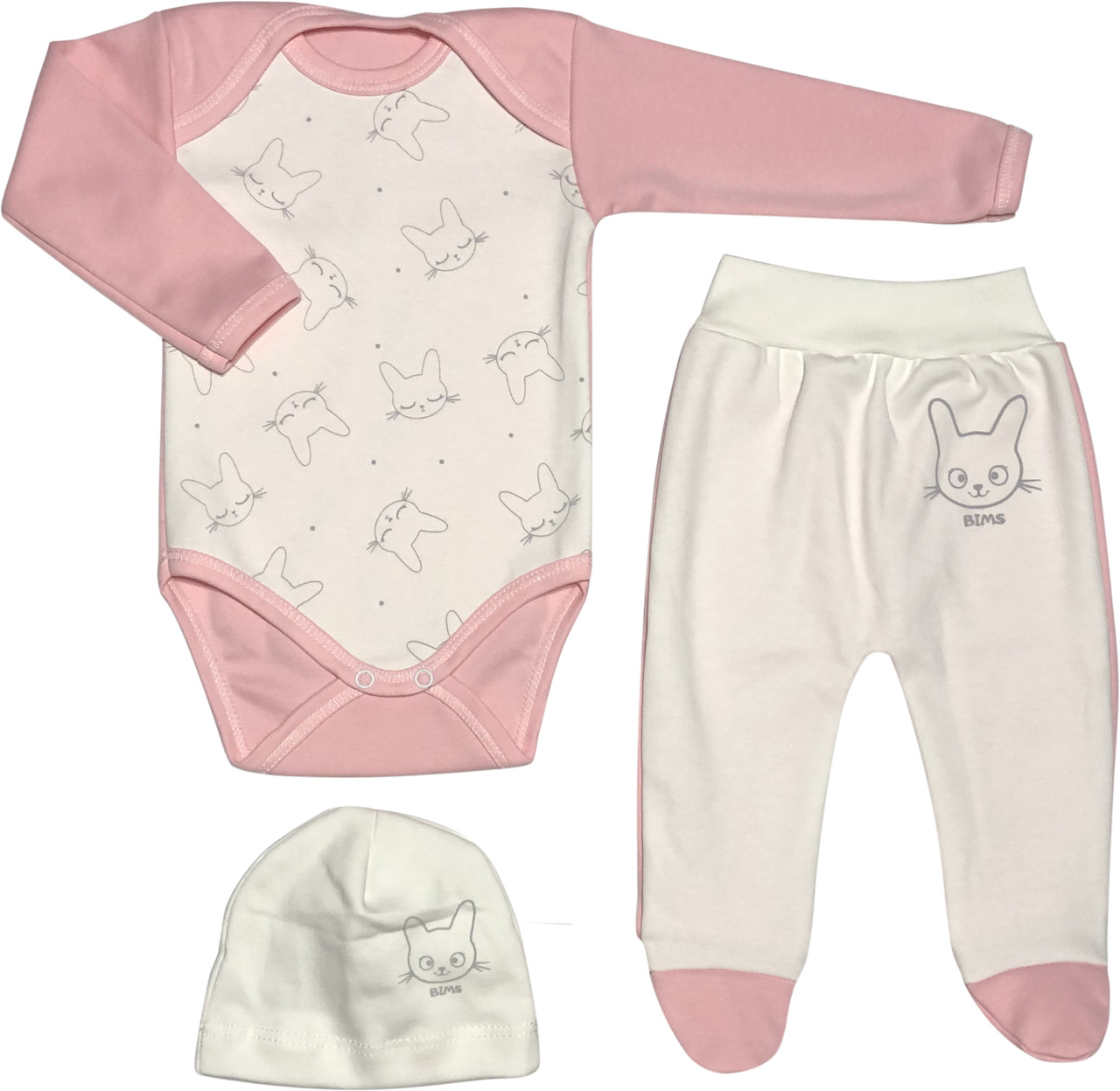 Тёплый костюм с начёсом на девочку рост 56 0-2 мес для новорожденных комплект детский трикотажный розовый