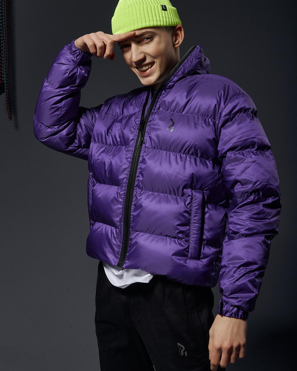 Коротка весняна куртка-пуховик Пушка огонь Holla фіолетова