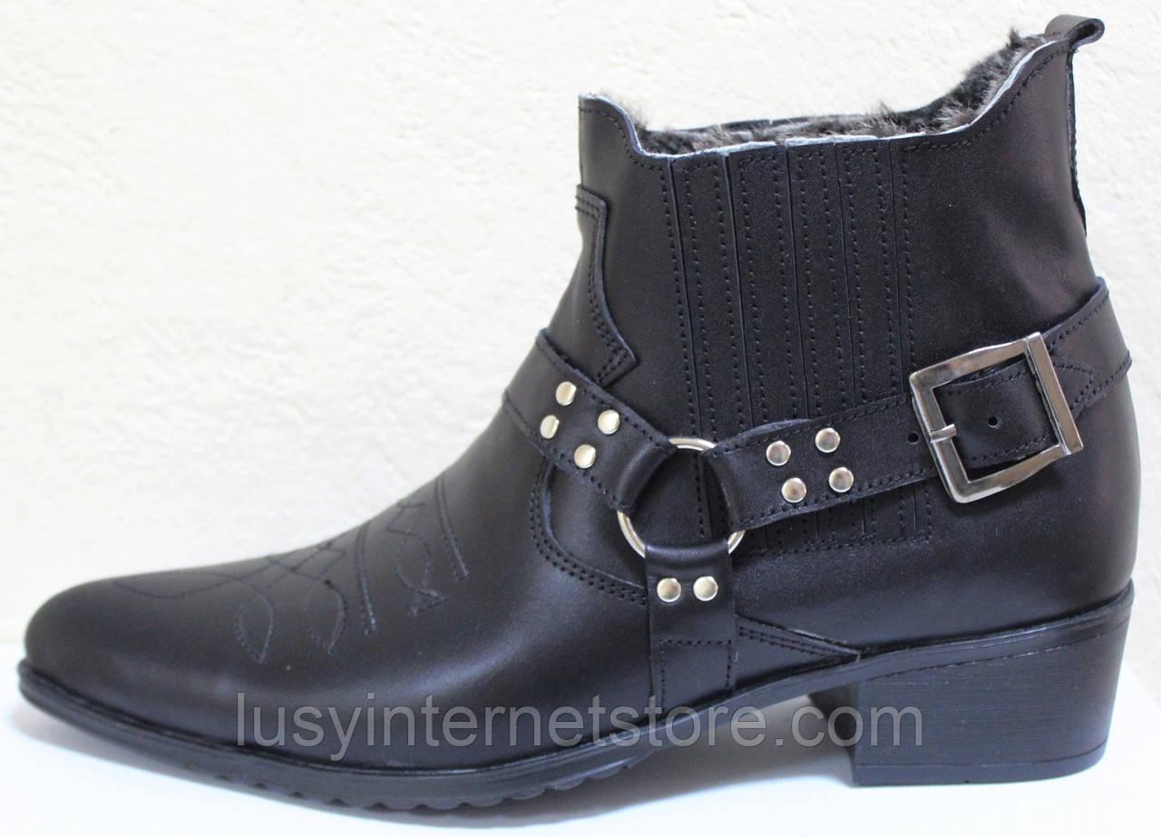 Казаки зимние черные мужские кожаные, казаки от производителя ЛЕ101