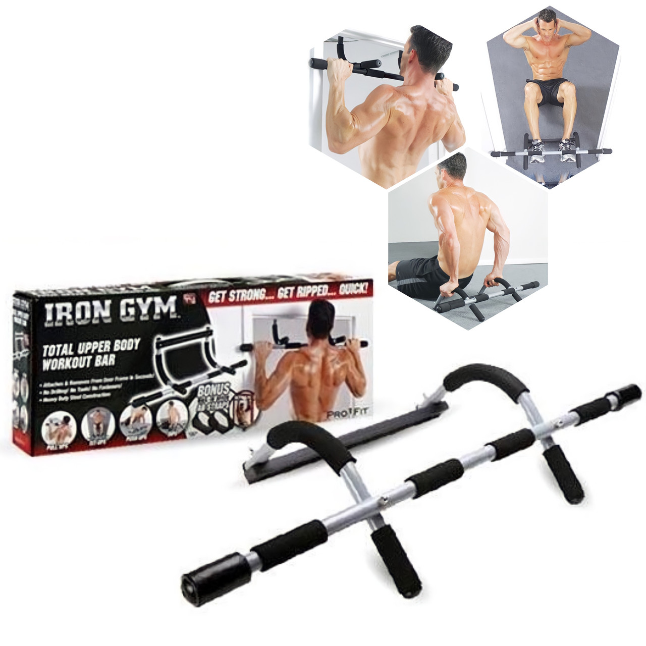 Універсальний домашній переносний тренажер Supretto Iron Gym в дверний проріз   Дверної турнік Iron Gym 4 в 1