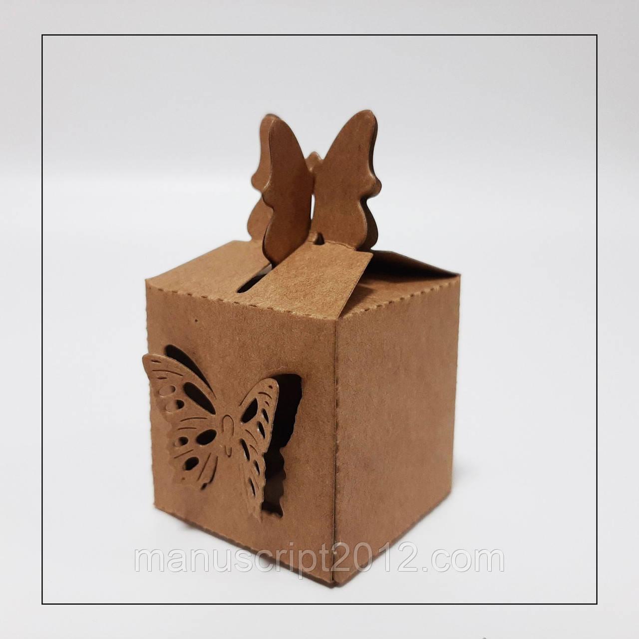 Бонбоньєрка коробка для цукерки крафтова 38х38х38 мм.