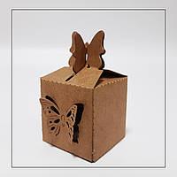 Бонбоньєрка коробка для цукерки крафтова 38х38х38 мм., фото 1