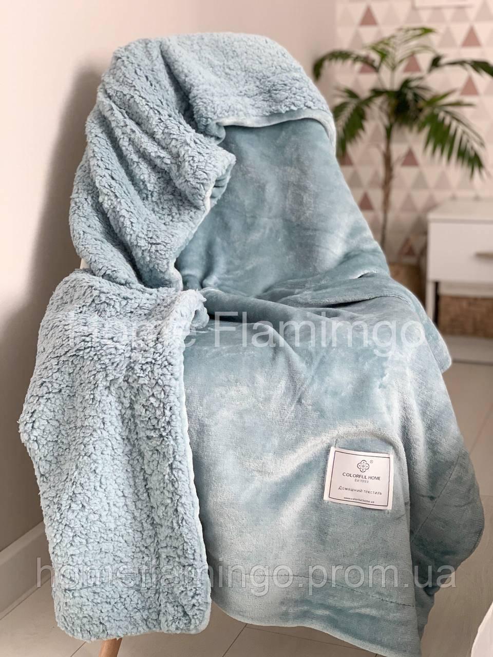 Плед детский двухсторонний теплый с овчины и гладкой микрофибры, цвет голуьой Blue CFH 100х130 см