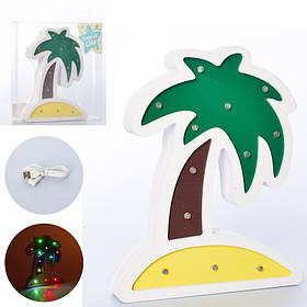 Деревянная игрушка Ночник Пальма,20*16 см., свет, на бат/от сети, в слюде