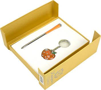 "Набір подар. ""Langres"" №122024-11 Apple: ручка кульк.+брелок,помаранч."