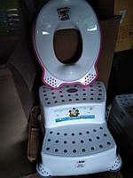 Подставка для ног 2 ступени накладка прорезинаная на унитаз, комплект детский Турция набор антискользящий, фото 1