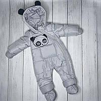 """Детский демисезонные комбинезон """"Панда"""" 74, 80 размер для деток от 6 до 18 мес"""