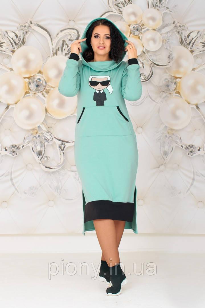 Женское Платье-Туника с капюшоном Батал