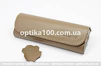Кожаный коричневый футляр для очков. Натуральная кожа, фото 1