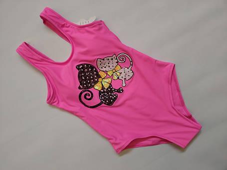 Купальник  слитный для подростков FUBA Котики  2029 розовый(в наличии  34 36 38 40 42  размеры), фото 2