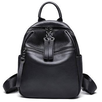 Рюкзак міський жіночий шкіряний. Рюкзак з натуральної шкіри (чорний)
