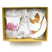 Чашка с блюдцем в подарочной коробке Роза (2 предмета)