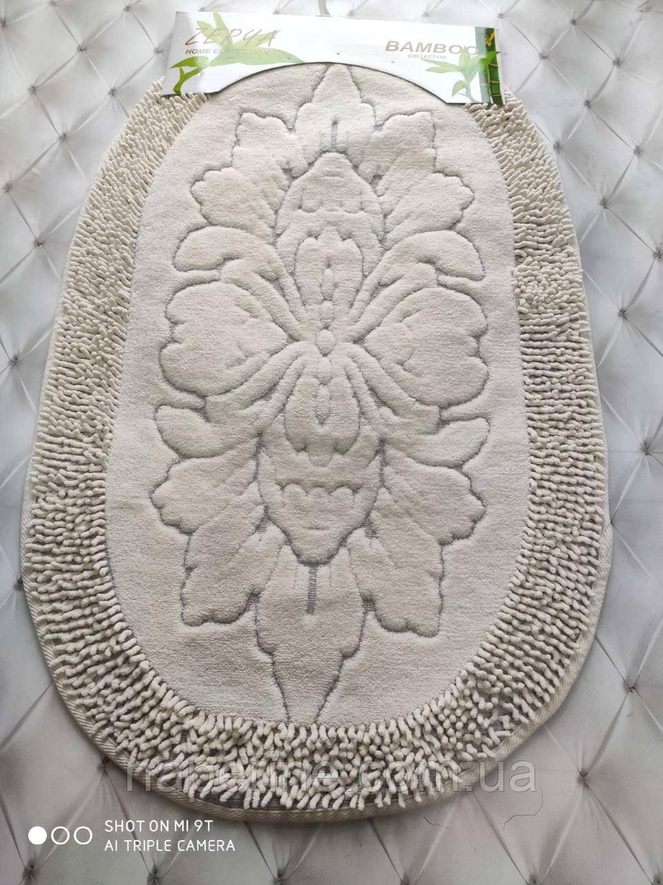 Коврики для ванной комнаты овальные Zerya 2 предмета кремовые Турция лучшая цена
