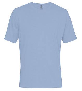 Футболка однотонная мужская, цвет голубой, круглая горловина