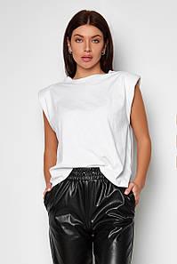 Жіноча однотонна біла футболка oversize з трендової накаткою (Кет jd)